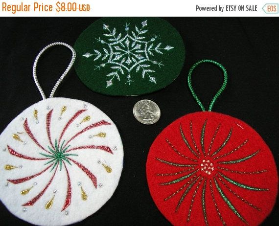 SNOW SALE Christmas Tree Ornament Embroidered Felt by MakeMeOver
