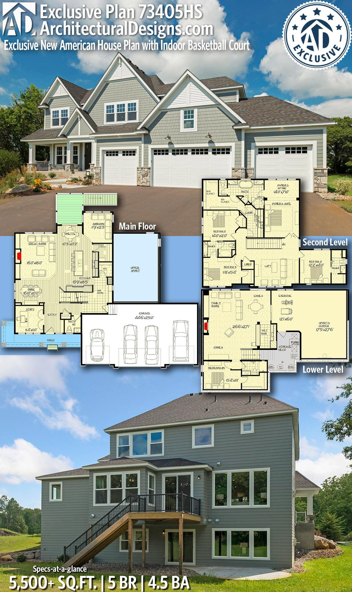 Plan 73405hs Exclusive New American House Plan With Indoor Basketball Court House Plans Craftsman House Plans Family House Plans