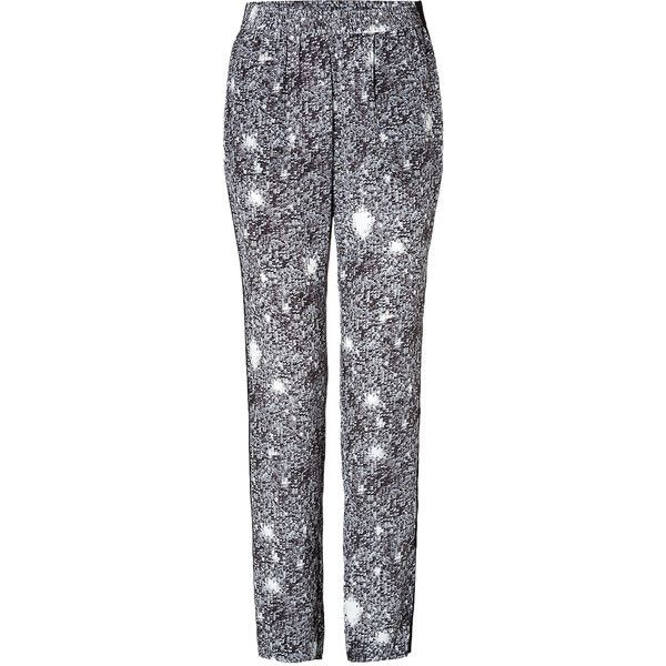 MARC BY MARC JACOBS Silk Twilight Print Pants in Black Multi (150 CAD) ❤ liked on Polyvore featuring pants, elastic waistband pants, loose fit pants, black sequin pants, silk print pants e marc by marc jacobs