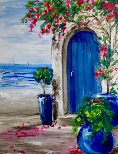 Ocean Villa Ii At Mimi S Cafe In Cerritos Paint Nite Events Near Cerritos Ca Simple Acrylic Paintings Painting Watercolor Art