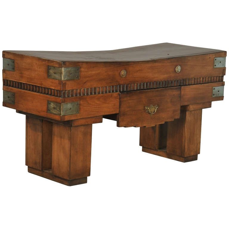 Antique French Butcher Block Table Circa 1900