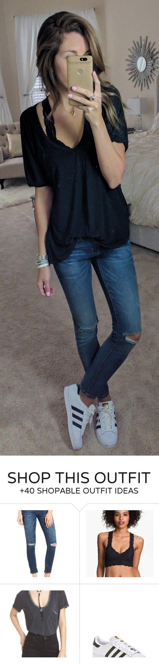 0b51cfac1689  spring  fashion   Black Top   Destroyed Skinny Jeans   White Adidas  Sneakers