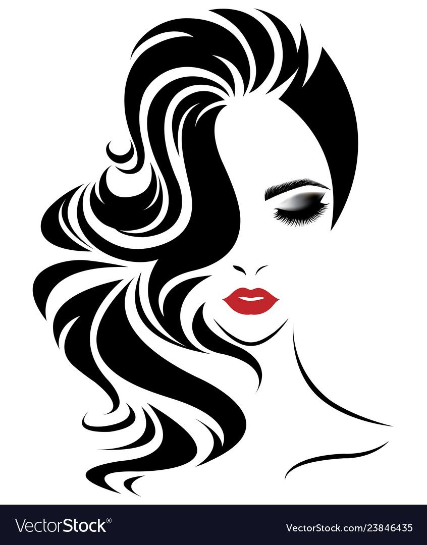 Women Long Hair Style Icon Logo Women Face Vector Image On Vectorstock In 2020 Hair Illustration Silhouette Art Woman Face