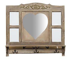 Pensile con specchio e 4 spazi foto in legno Cuore - 82x75x10 cm