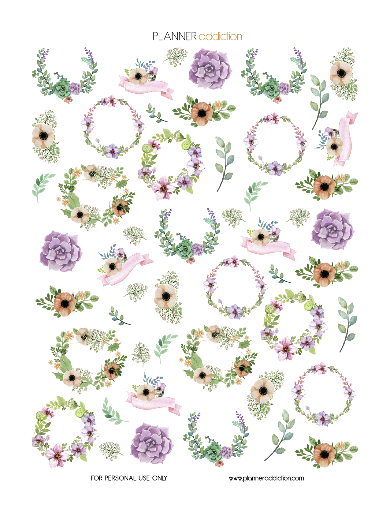 watercolor floral (planner addiction) | planner ideas | pinterest