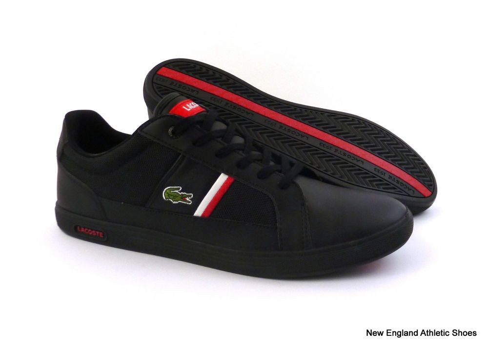 Lacoste men Europa casual shoes sneakers size 10 - Black / Red $90 #Lacoste  #