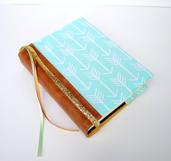 Bible Cover - Book Sleeve - ESV Journaling Bible Single and Double Column - NIV - Mint Arrows with Nutmeg Vinyl