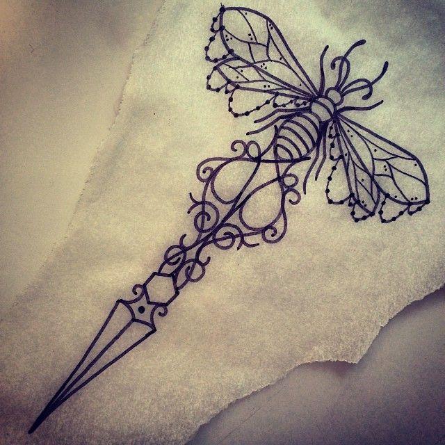 Dagger Tattoo Outline: Outline Bee Knife Tattoo Design