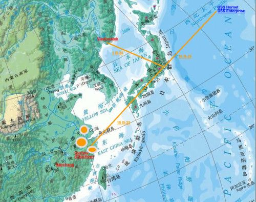 Doolittle Tokyo Raid route map. | Planes | Doolittle raid, World war on