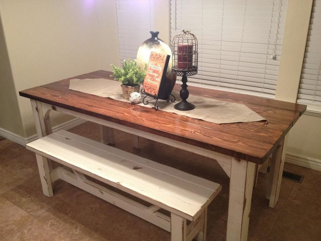 Rustic nail farm style kitchen table and benches to for Kitchen table sets with bench and chairs