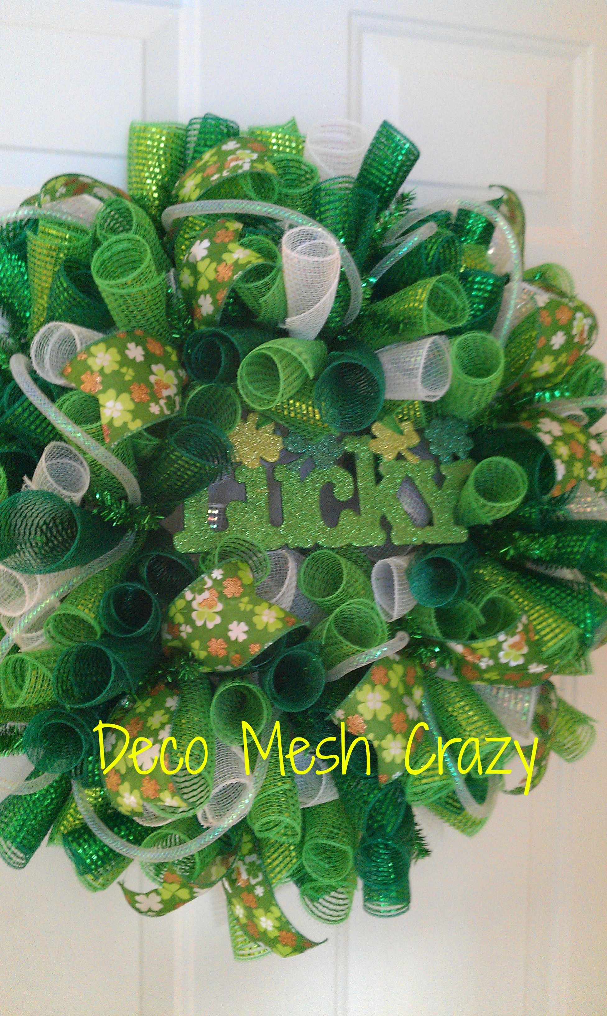 lucky st patrick 39 s day deco mesh wreath st patrick 39 s day. Black Bedroom Furniture Sets. Home Design Ideas