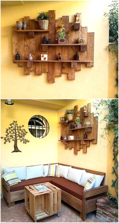 pallets decor wall shelf | Balerine | Pinterest | Pallets, Shelves ...