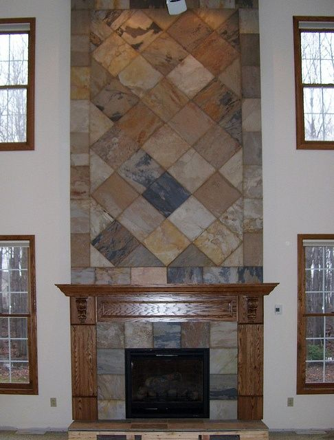 slate fireplace designs Slate Tile Fireplace by jamesjustice06