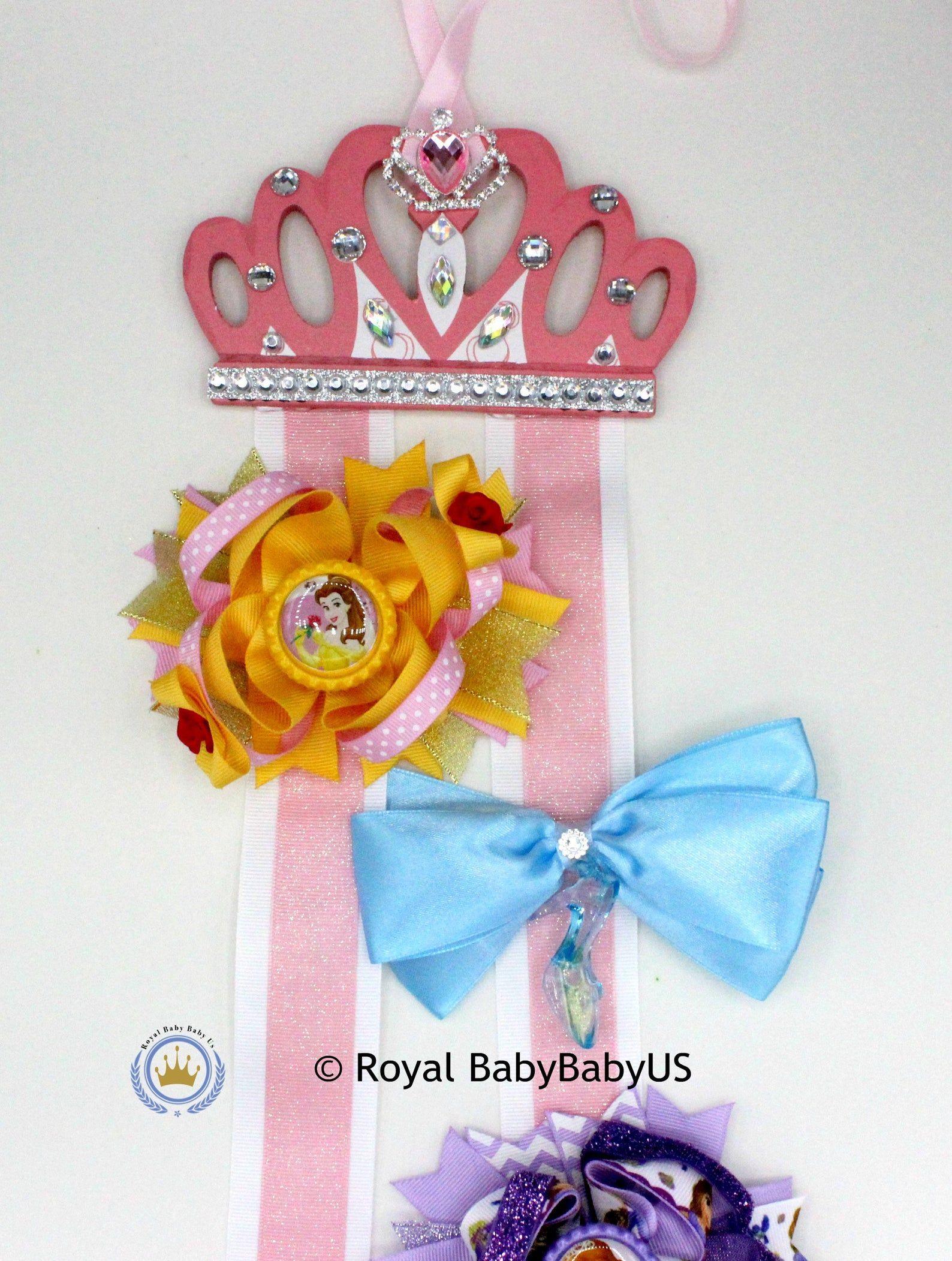 Handmade personalised girls princess crown hair clip bow holder