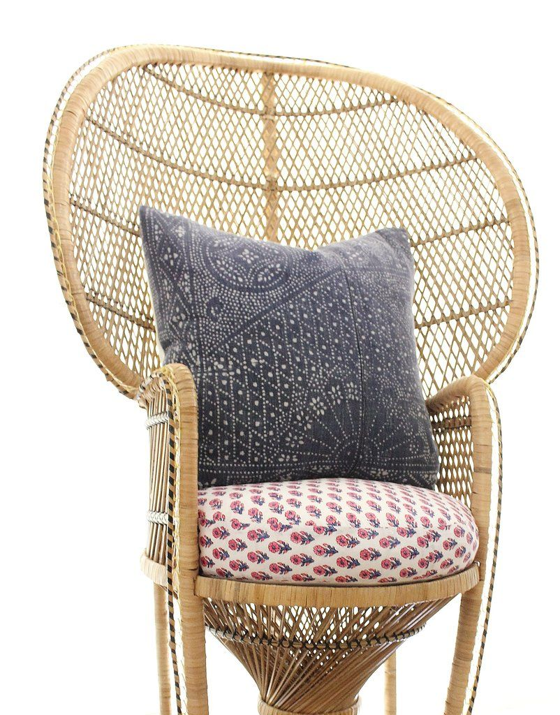 Peacock Chair Cushion Block Print Round Pillow 19 Upholstered