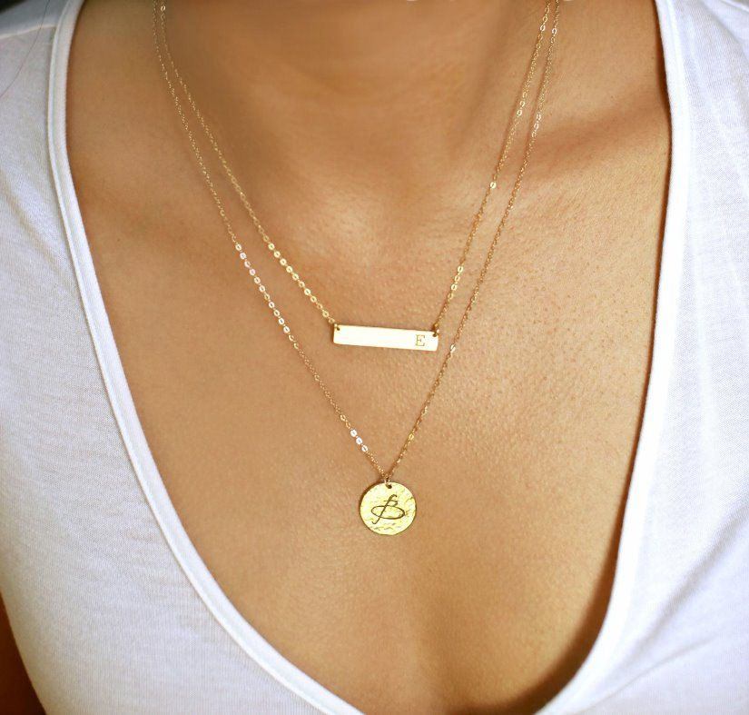 Layering Necklace, Gold Bar Necklace, Name Plate Necklace