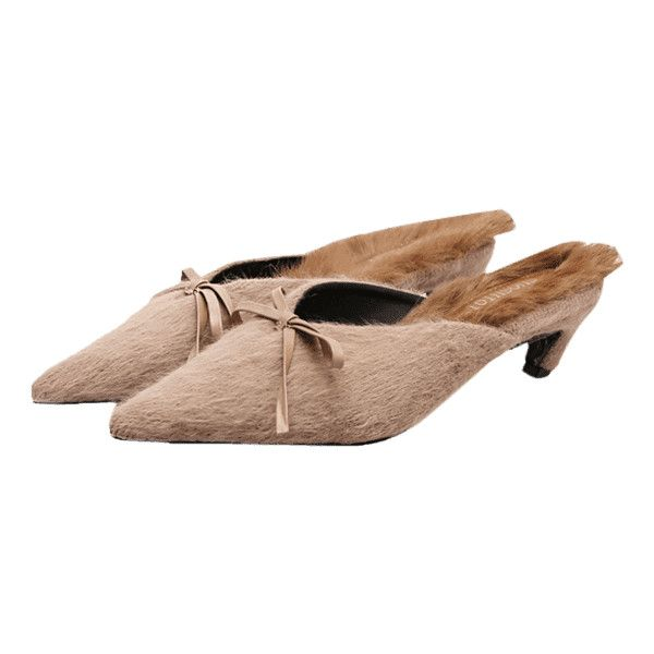 clearance good selling Bowknot Artificial Fur Mules Shoes - Khaki 38 clearance 100% authentic fashionable cheap online x9m4v