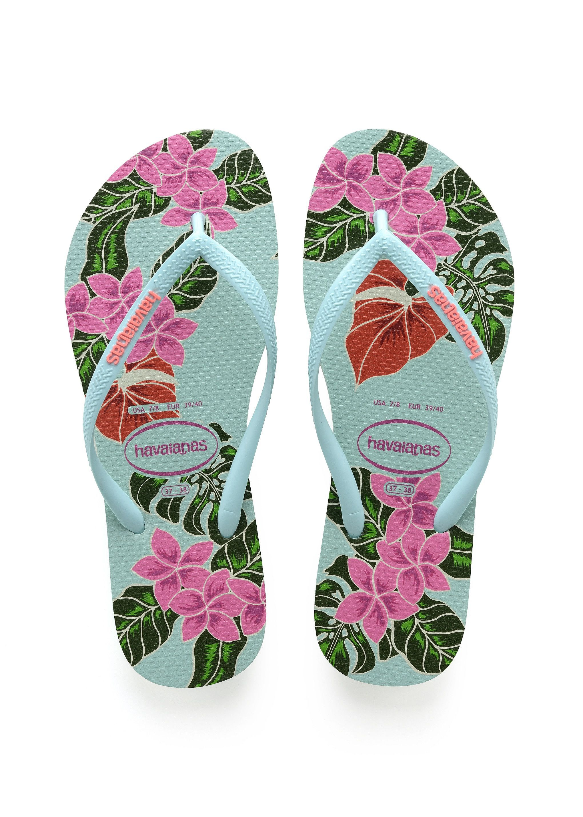 d0e50a89f FINAL SALE Style blooms bright on the Slim Floral flip flop. Featuring an  eye-catching floral print in a range of bold colors. A contrast Havaianas  logo on ...