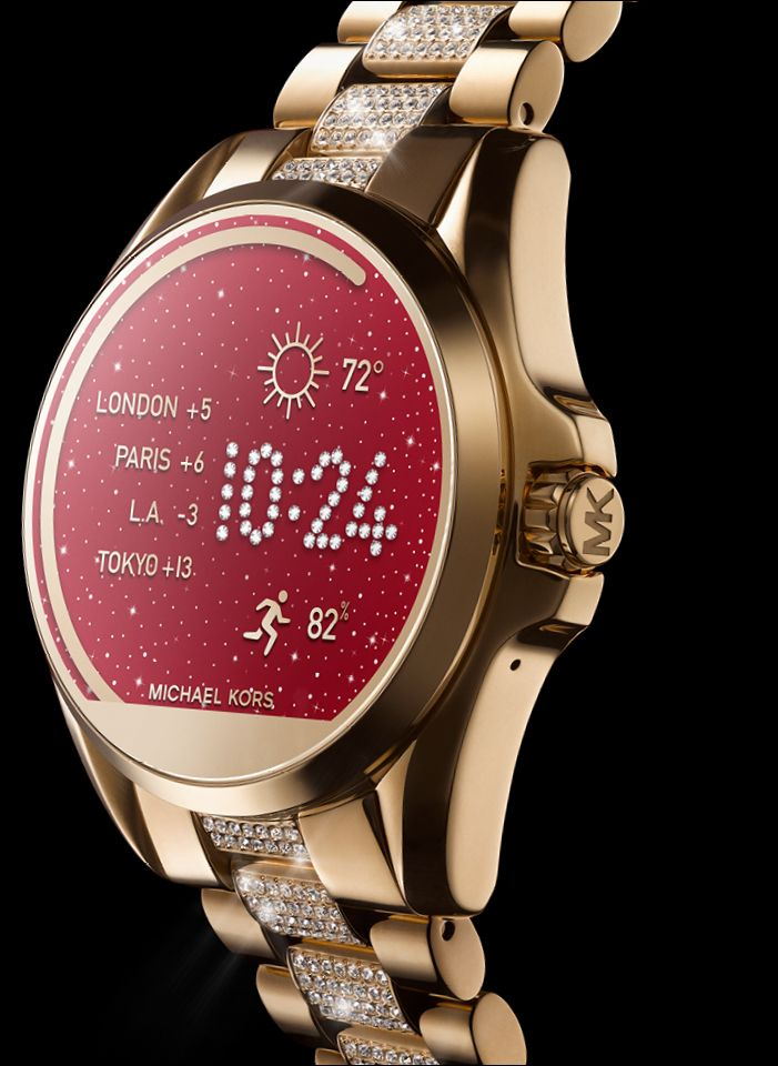 b38daf1a05 Close-up of gold smartwatch with custom Michael Kors watchface design
