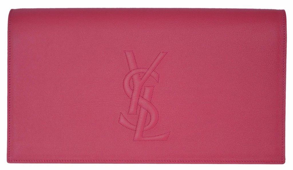 146097fb2fd New Saint Laurent YSL 361120 Pink Leather Large Belle de Jour Clutch Handbag