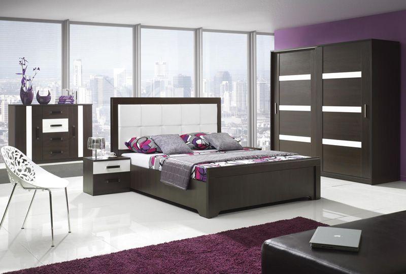 Complete slaapkamer set Orlando Dark kleuren Wengé / Hoogglans wit ...