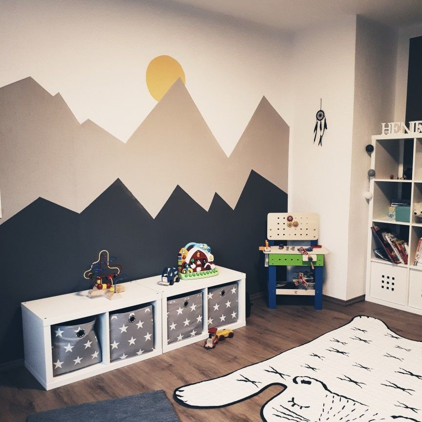 Kidsroom Toddlerroom Scandi Mountain Mural Baldachin