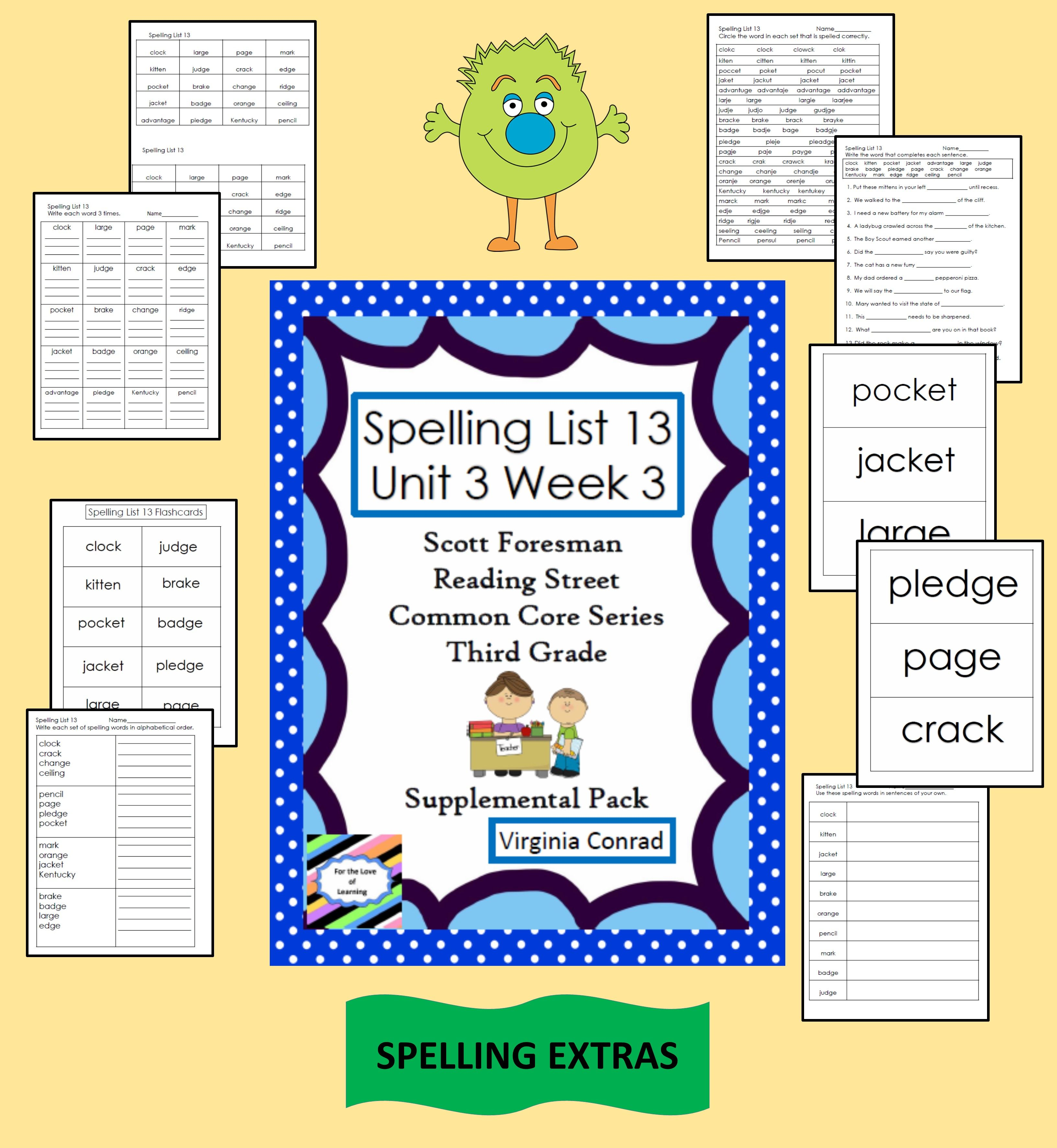 Supplemental Materials For Spelling List 13 In The Reading