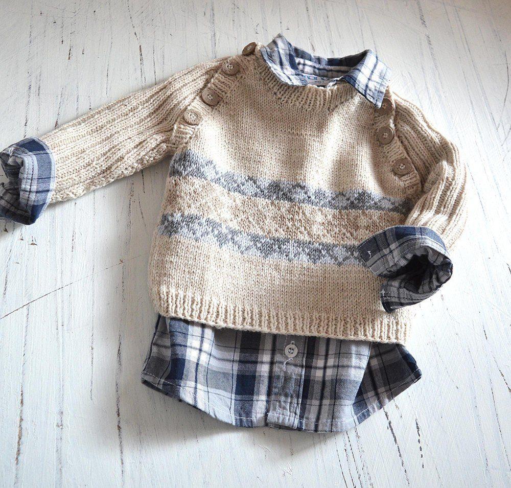 Trendy little man's sweater P091 Knitting pattern by OGE Knitwear Designs