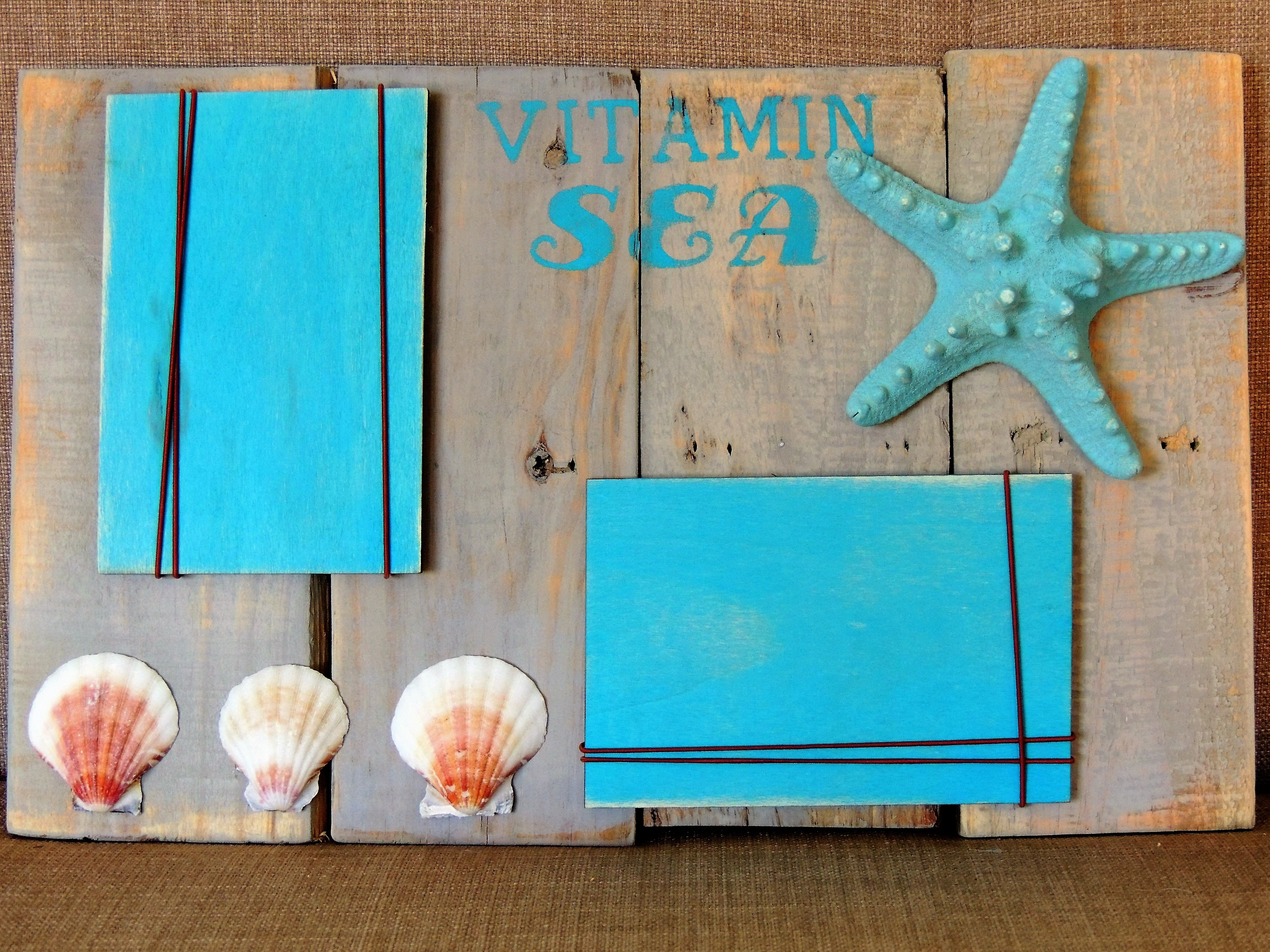 Recycled Pallet Wood Used To Create A Beach Themed Collage Frame Just Slip Your Pictures Under The Elasti Recycled Pallet Unique Items Products Collage Frames