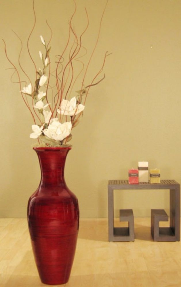 Home Office Entry Floral Decor Bamboo Floor Vase And White Magnolias