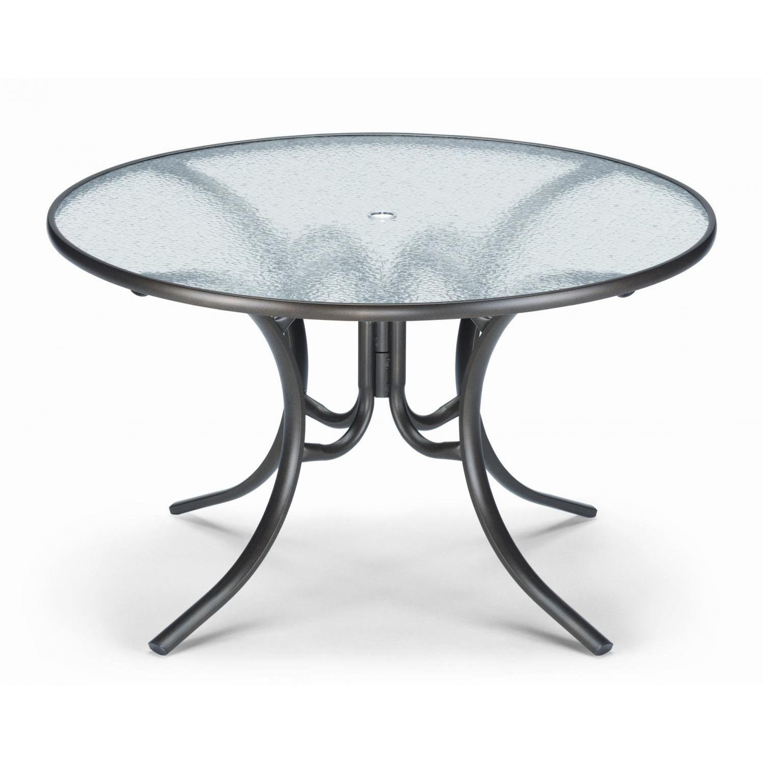 Telescope Casual 48 Inch Round Aluminum Patio Dining Table With Glass Top Textured Black Round Patio Table Glass Round Dining Table Glass Top Dining Table Glass top patio dining table