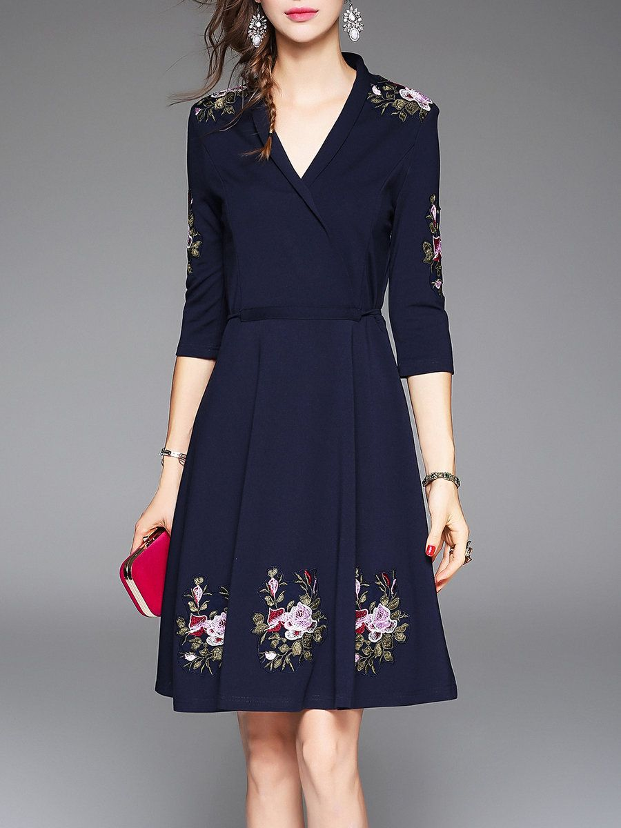 392c49f5ef  AdoreWe  StyleWe Dresses - VEINFUNS Dark Blue V Neck Floral 3 4 Sleeve  Embroidered Midi Dress - AdoreWe.net
