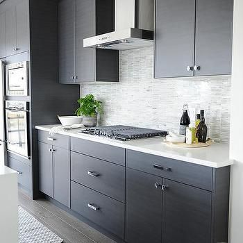 Best Dark Gray Flat Front Kitchen Cabinets With Gray Mosaic 400 x 300