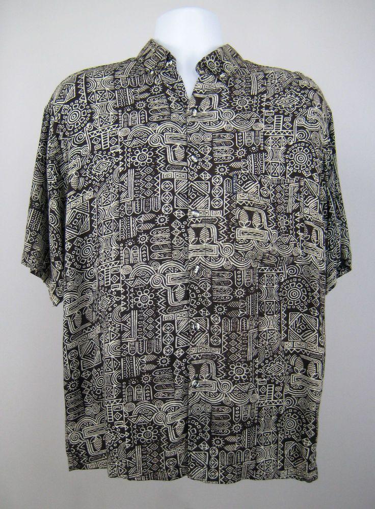 026472943a1 Vintage Pidoza Hawaiian Shirt Men XL Black White Tropical Print Short Sleeve   Pidoza  Hawaiian  Shirt  TropicalPrint  AbstractPattern  GeometricShapes  ...