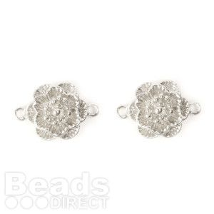 Silver Plated Flower Connector Charm 13mm Pk2