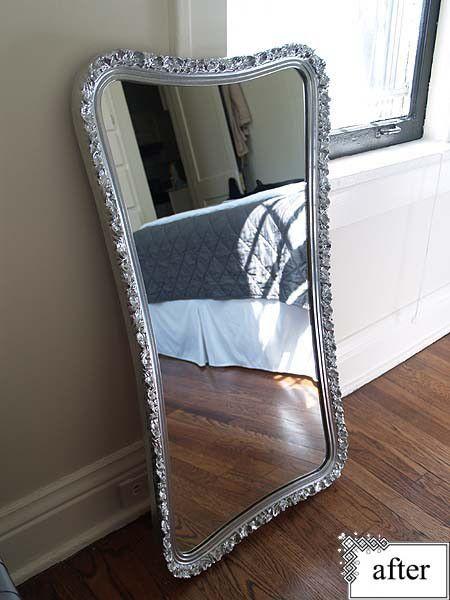Mirror Frame Spray Painted With Krylon S Premium Metallic In Silver Foil