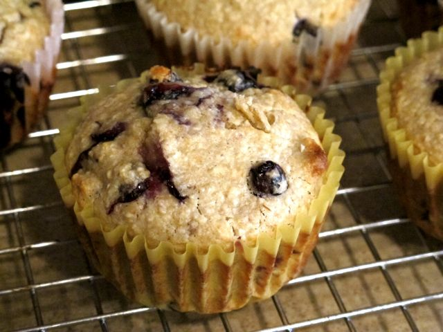 Oat Flour Blueberry Muffins - use ricotta instead of buttermilk and coconut oil instead of butter. Add lemon zest