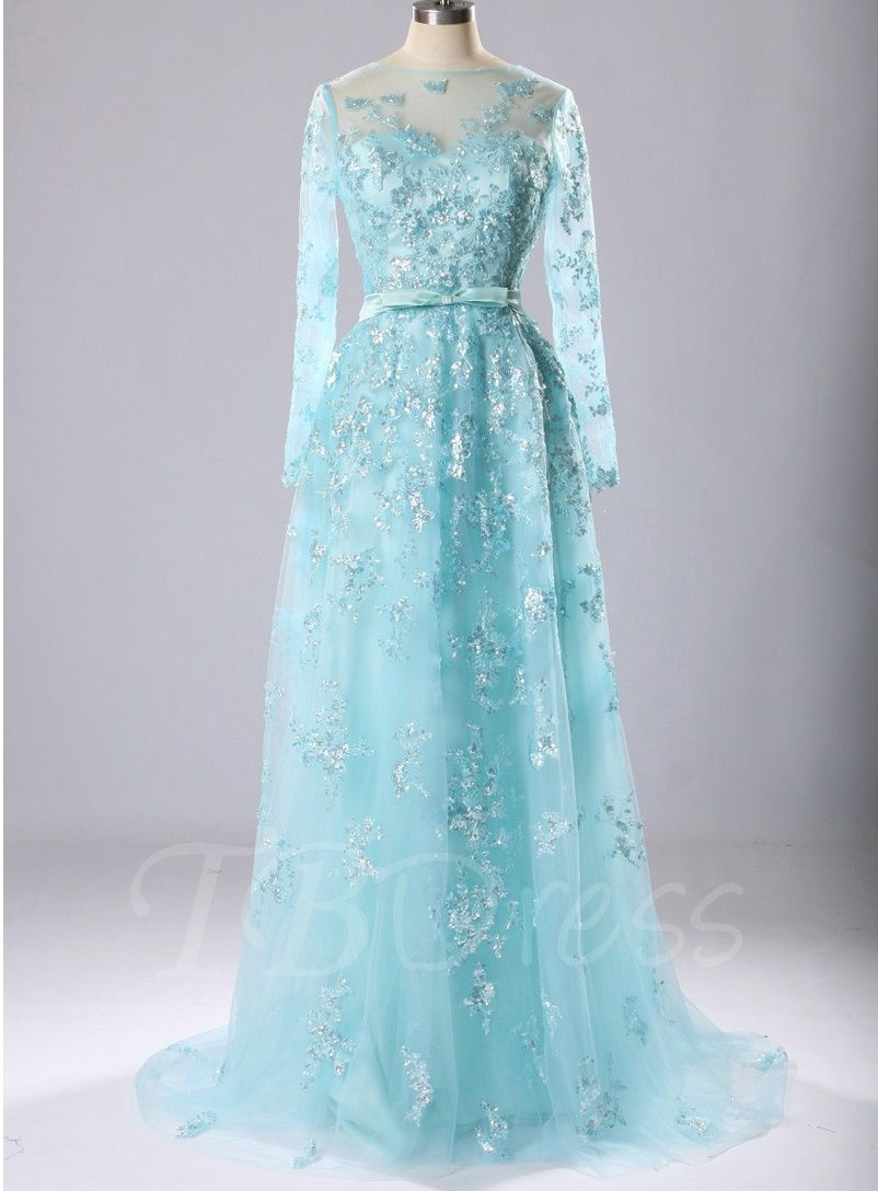 Tbdress offers high quality long sleeves bateau appliques bow