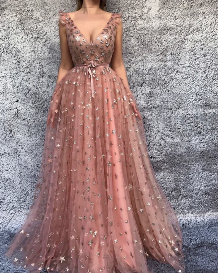Starry Cinnamon Rose TMD Gown - Prom dresses, Long prom dress, Pink prom dresses, Gowns, Dresses, V neck prom dresses - Details  Soft pink dress color   Tulle fabric   Handmade embroidered sparkling stars and pink velvet belt  Aline dress style with waist definition and Vneck   For prom nights,special evenings and events