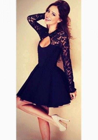 dcb9095cf Vestido sin respaldo calado manga larga encaje negro
