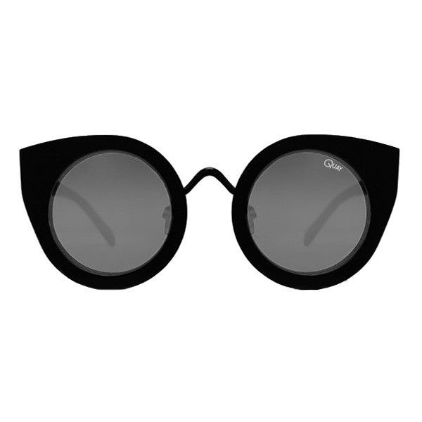 Quay Australia Tainted Love Sunglasses Black ($19) ❤ liked on Polyvore featuring accessories, eyewear, sunglasses, glasses, black, uv protection sunglasses, rounded sunglasses, round cateye sunglasses, round sunglasses and lens glasses