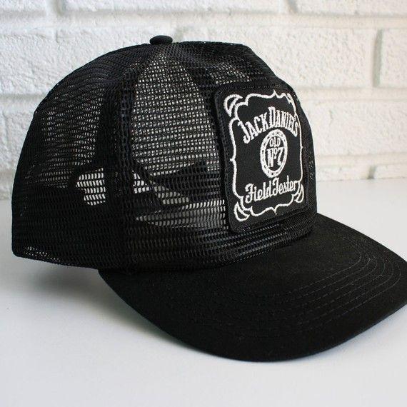 74ea0f3b76e Vintage Black Jack Daniels Trucker Hat by kibster on Etsy