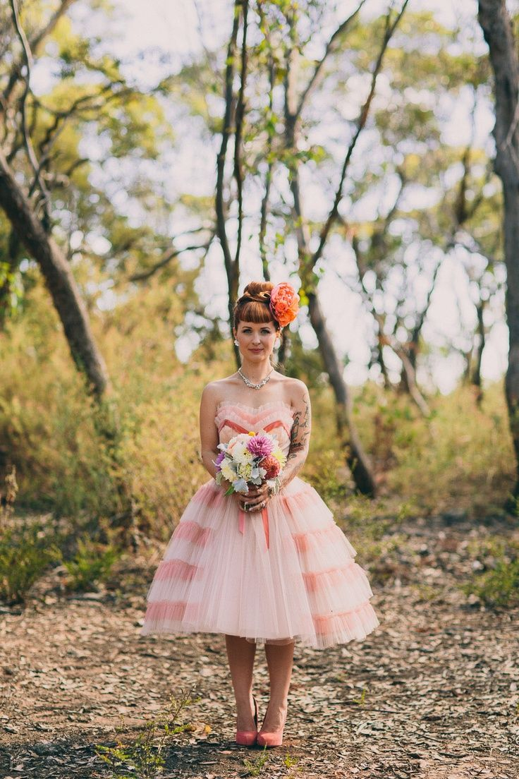Rocking a pink wedding dress. Emotional DIY Kawaii Wedding: Talia & Zac