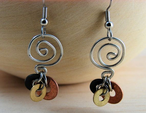 Wire Work Earrings Handcrafted Swirl Design and Hardware Washer ...