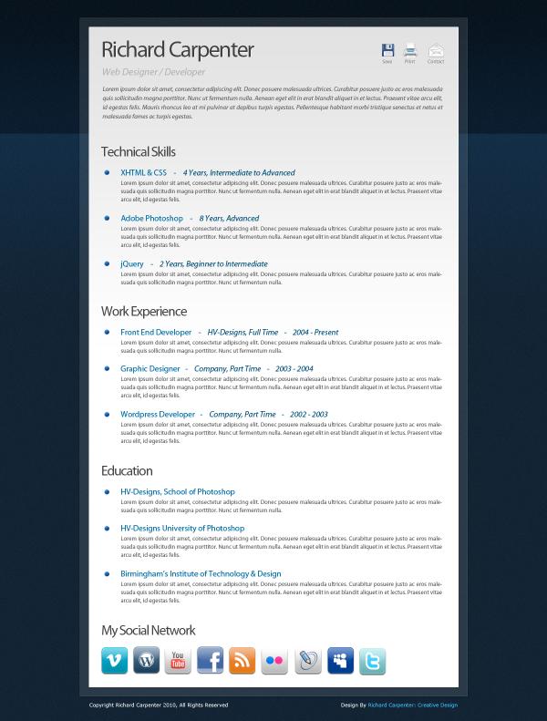 free creative digital cv curriculum vitae psd template - Coolest Resume Templates