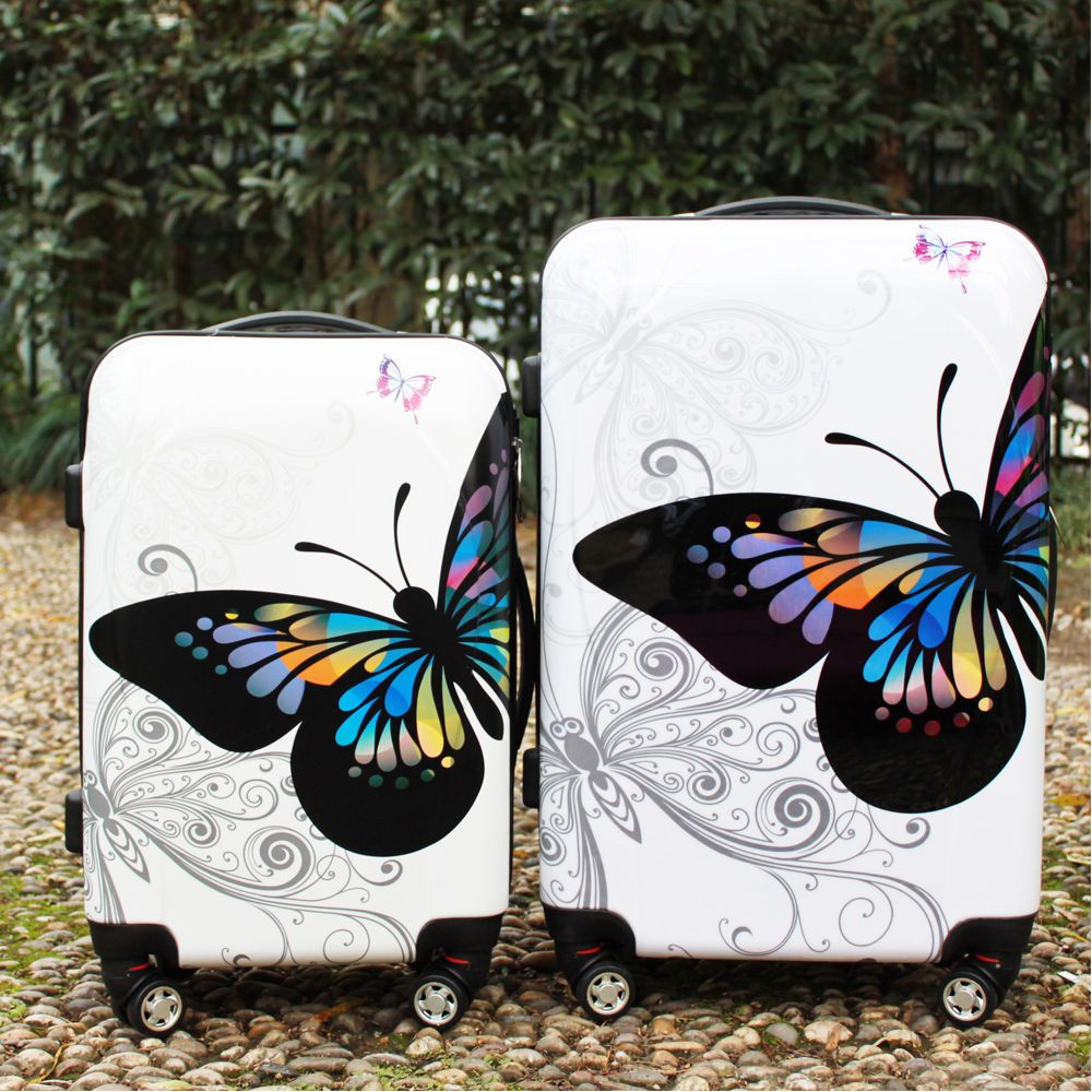 2 PCS Hard Shell 4 Wheel Spinner Luggage Suitcase ABS Trolley Case ...