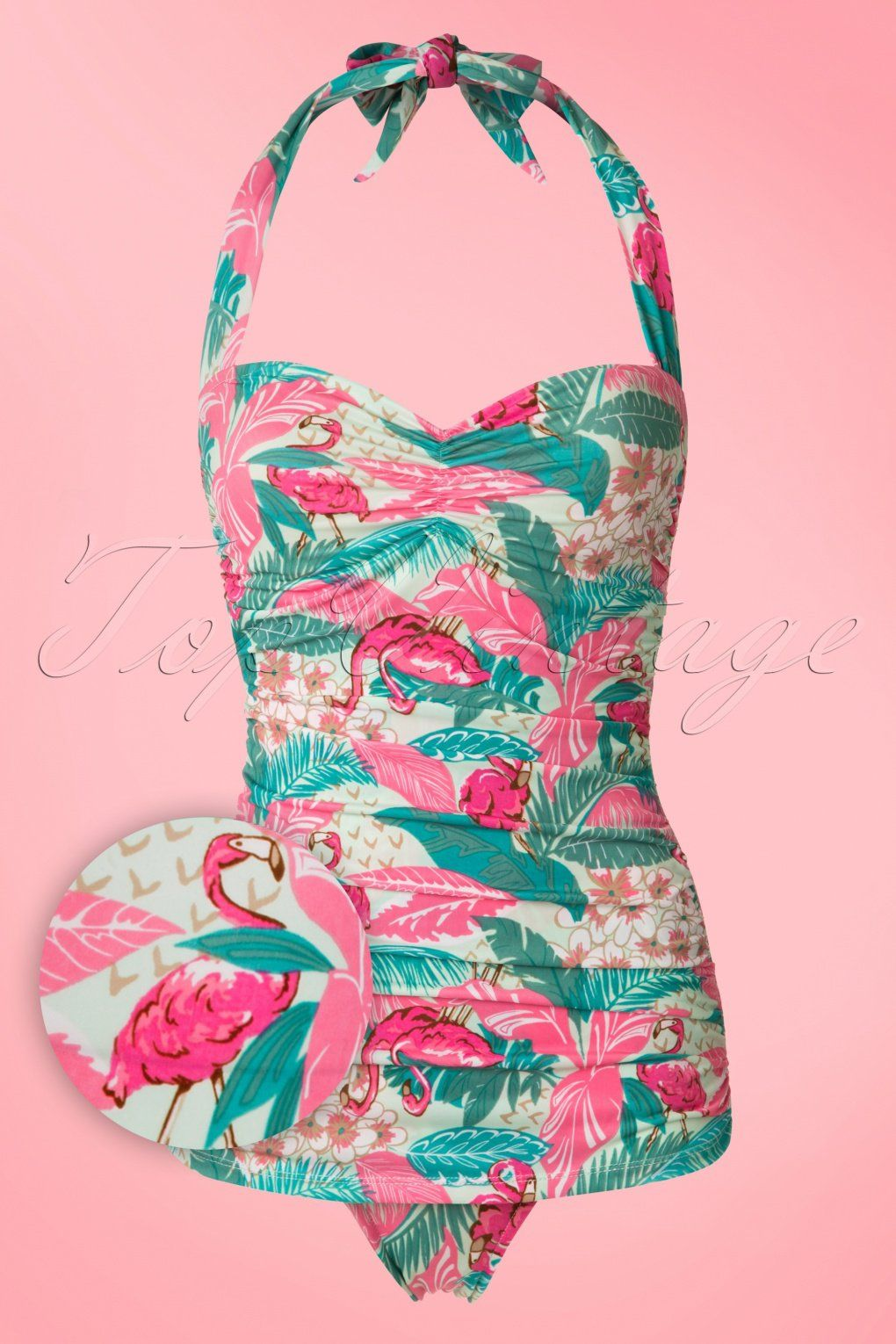 a45cfe3fdee Vintage Inspired Retro Swimsuits 50s Flamingo Sarong Front Swimsuit in Mint  £70.35 AT vintagedancer.com