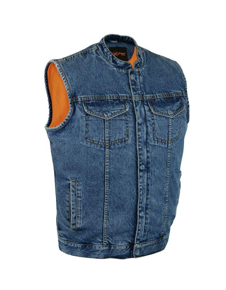 Mens Concealed Snap and Zipper Blue Denim Vest with Scoop Collar Gun Pockets