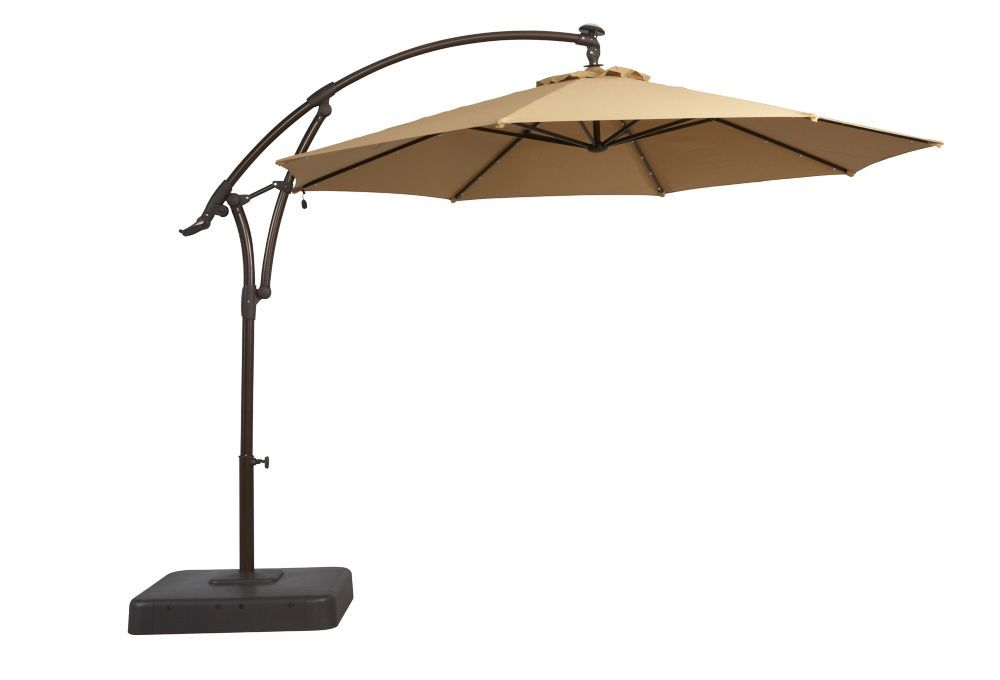 11 Ft Offset Patio Umbrella With Solar Led Lights In Tan 398 Offset Patio Umbrella Outdoor Patio Umbrellas Patio Umbrella