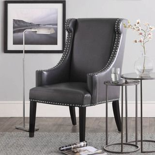 Great Stansbury Grey Bonded Leather Wing Chair   Overstock.com Shopping   Great  Deals On Living